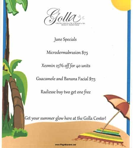 Golla Plastic Surgery June Specials